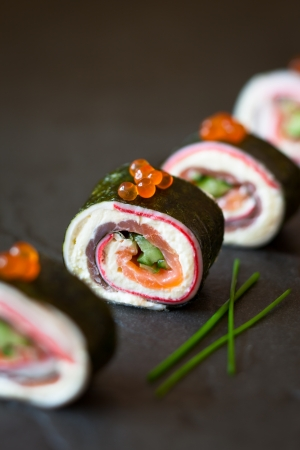 person appetizer: Delicious No-Rice Sushi Roll