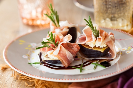 Prosciutto Wrapped Figs with Goat Cheese and Rosemary