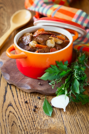 stew pot: Boeuf Bourguignon  with carrots,onions and mushrooms