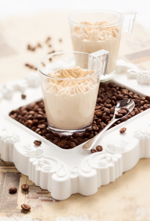 coffee jelly: Coffee mousse in two cups Stock Photo