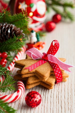 winterberry: Christmas cookies with festive decoration Stock Photo