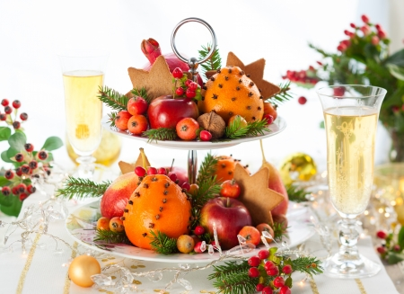 apple christmas: Festive Christmas table Stock Photo