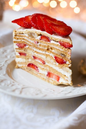 cake with cream and strawberry for holiday photo