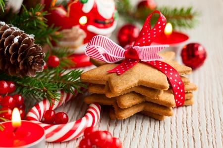 Christmas cookies with festive decoration Archivio Fotografico