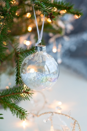 Christmas tree with transparent Christmas Baubles photo