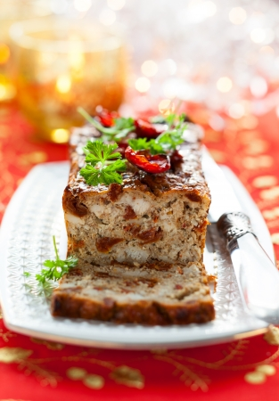 Chicken Meatloaf with Sun-Dried Tomatoes for Holiday Stock Photo - 15801246
