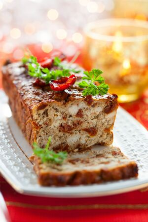 Chicken Meatloaf with Sun-Dried Tomatoes for Holiday Stock Photo - 15887597