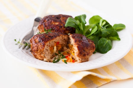 minced meat patties stuffed with vegetables and feta Stock Photo - 17437757