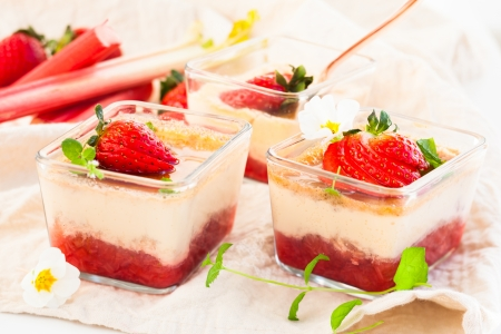 flan: Rhubarb and strawberry flan Stock Photo