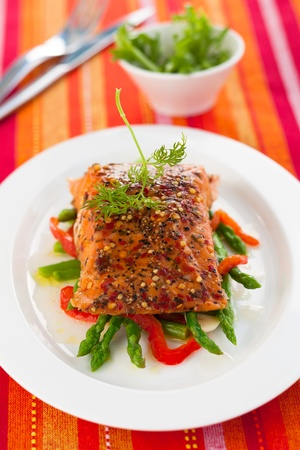 Salmon fillet with asparagus and red bell pepper Stock Photo - 18514988