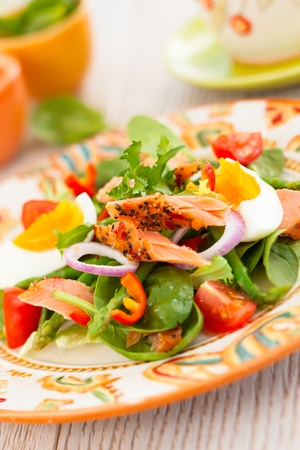 spinach salad: salmon salad with egg and vegetables