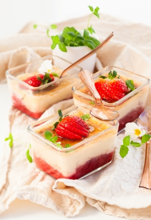 flan: Rhubarb and strawberry flan Stock Photo