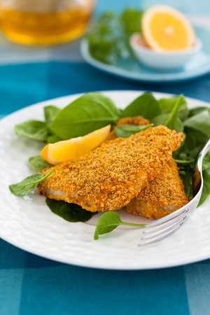 sea bass: breaded fish with spinach