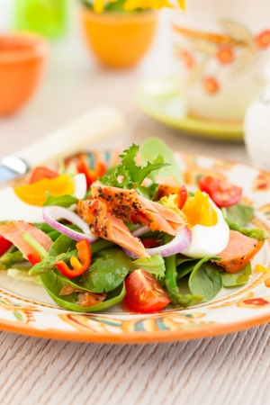 salmon salad with egg and vegetables Stock Photo - 18626165