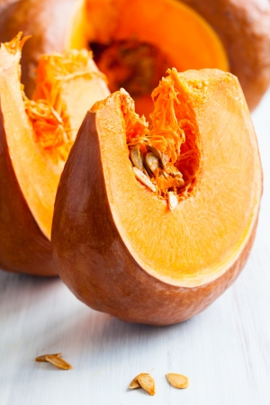 Fresh pumpkin slices with pumpkin seeds photo