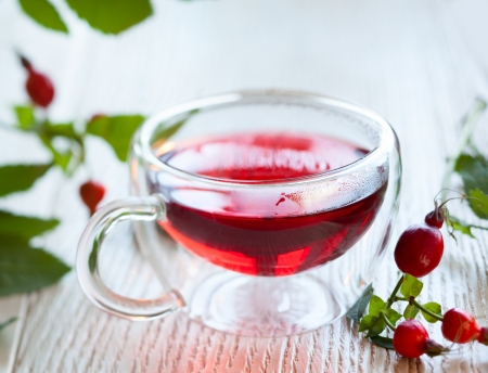fresh herbal rose hip tea photo
