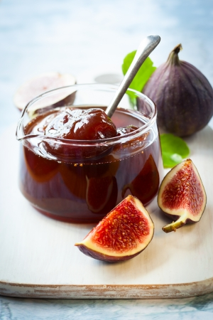 Fig jam in a jar photo