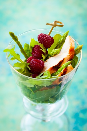 Delicious chicken and raspberry salad for holiday photo