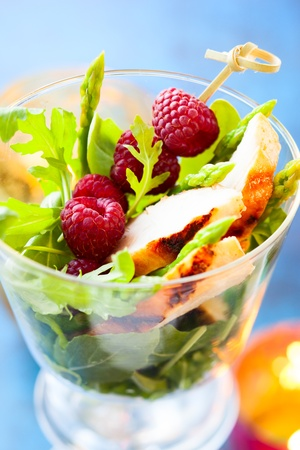 Delicious chicken and raspberry salad for holiday Stock Photo - 21901679