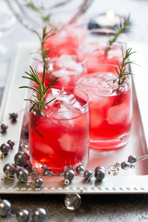 Holiday cocktails for Christmas on tray Stock Photo