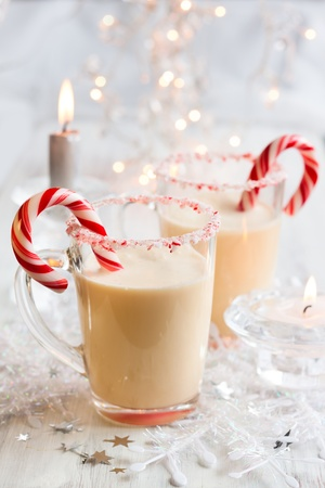 eggnog: Creamy Peppermint Punch with candy cane