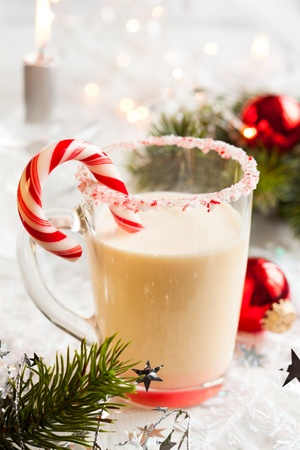 Creamy Peppermint Punch with candy cane photo