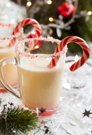 candy cane: Creamy Peppermint Punch with candy cane