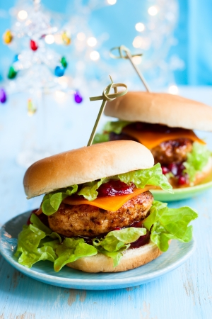 Christmas Turkey Burgers With Cranberry Sauce photo