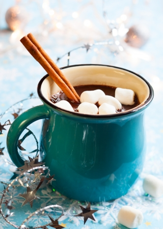 hot chocolate drink: Hot chocolate with  marshmallows and cinnamon stick