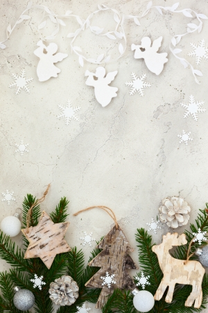 Christmas decoration on the grey cracked stone background photo