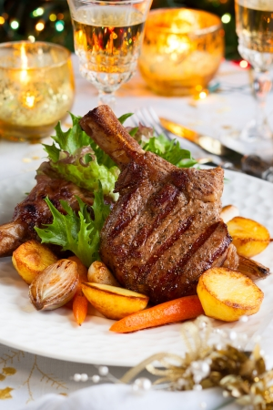 beef tenderloin: Veal chop with vegetables for Christmas dinner Stock Photo