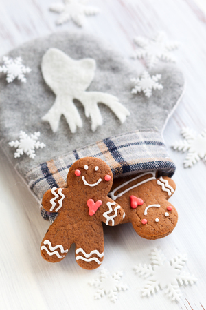 Gingerbread cookies,mitten and snowflakes photo