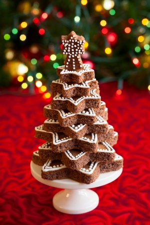 Chocolate Christmas tree on the festive table photo