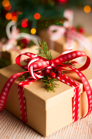 Navidad caja de regalo con la decoración Foto de archivo - 22424935