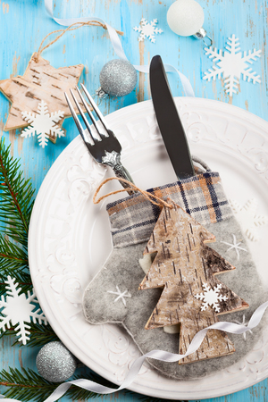 party table: Rustic Christmas table setting Stock Photo