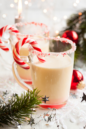 christmas food: Creamy Peppermint Punch with candy cane