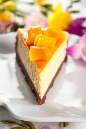 Mango Cheesecake on the plate