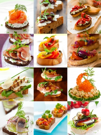 canapes: sandwiches and canape collage
