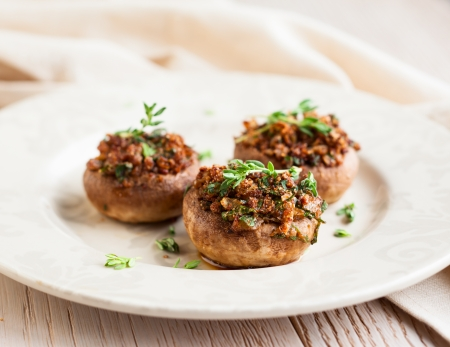 Stuffed mushrooms  with bread crumbs, mushroom stems, parsley,onions and garlic
