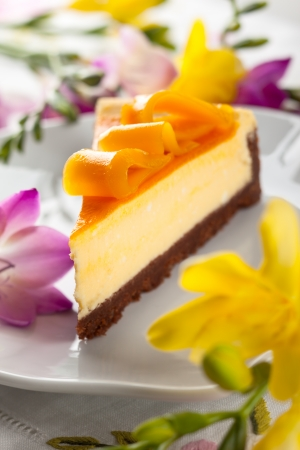 Mango Cheesecake on the plate photo