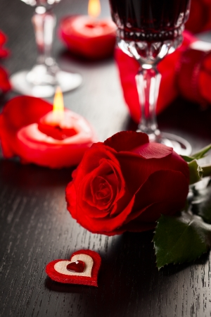 Festive place setting for Valentine photo
