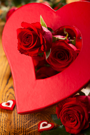Red roses and heart for  Valentine photo