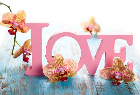 Word love with orchid on the  wooden blue background photo