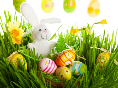 Colored easter eggs and rabbit on green grass photo
