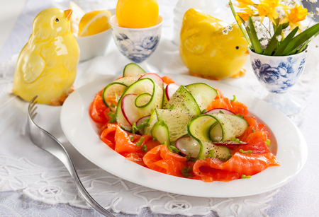 Smoked salmon,radish and cucumber salad for Easter Stock Photo - 25443588