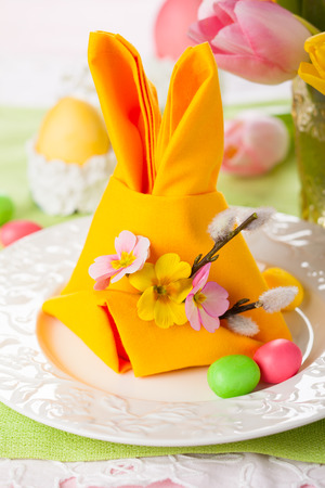 Festive table setting with Easter bunny napkin Stock Photo - 25841730