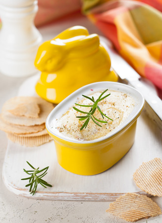 pate: Chicken liver pate with crackers for Easter
