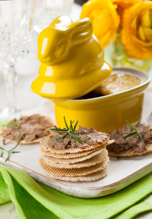 Chicken liver pate with crackers for Easter photo