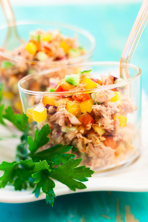 tuna salad: Tuna salad with bell pepper,cucumber and onion