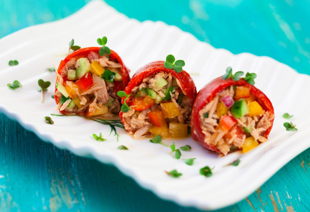 stuffed animals: Red peppers stuffed with tuna salad